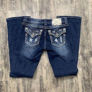 Miss Me Crystal Paisley Distressed Dark Wash Jeans